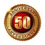 50 years anniversary golden label. — Stock Vector #59479571