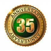 35 years anniversary golden label. — Stock Vector