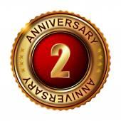 2 years anniversary golden label. — ストックベクタ