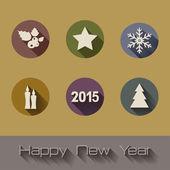 Happy New Year flat icons set — Stock Vector