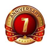 7 years anniversary golden label — Stock Vector