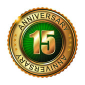 15 years anniversary golden label. — Stock Vector