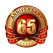 65 years anniversary golden label. — Stock Vector