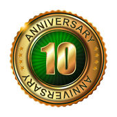 10 years anniversary golden label. — Stock Vector