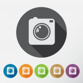 Camera icons set with long shadow. — Stock Vector
