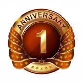 1 years anniversary golden label. — Stock Vector