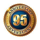 95 years anniversary golden label. — Stock Vector