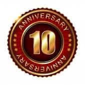 10 years anniversary golden label. — Stock Vector