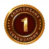 1 years anniversary golden label. — Stock Vector
