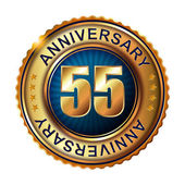 55 years anniversary golden label. — Stock Vector