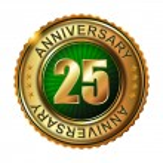 25 years anniversary golden label. — Stock Vector #59480275