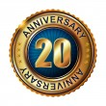 20 years anniversary golden label. — Stock Vector #59481293