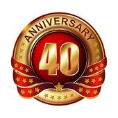 40 myears anniversary golden label. — Stock Vector