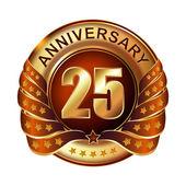 Etichetta d'oro anniversario 25 anni. — Vettoriale Stock