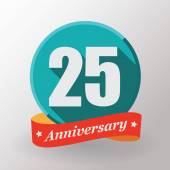 25 Anniversary label with ribbon — Vector de stock