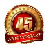 45 Anniversary golden label — Stock Vector