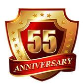 55 Anniversary golden label — Stock Vector