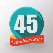 45 Anniversary label with ribbon — Stock Vector