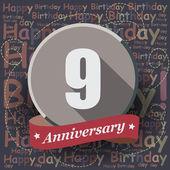 9 Happy Birthday Anniversary — Stock Vector