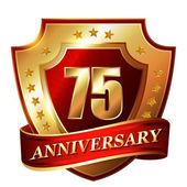 75 Anniversary golden label — Stock Vector