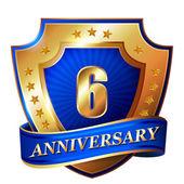 6 Anniversary golden label — Stock Vector