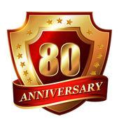 80 Anniversary golden label — Stock Vector