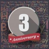 3 Happy Birthday Anniversary — Stock Vector