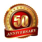 50 Anniversary golden label — Stock Vector