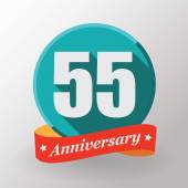55 Anniversary label with ribbon — Stock Vector