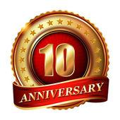 10 Anniversary golden label — Stock Vector