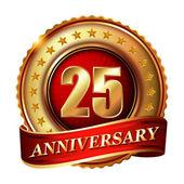25 Anniversary golden label — Stock Vector