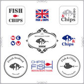Set of fish and chips labels — Stock Vector