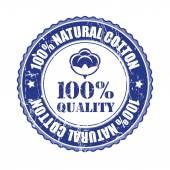 100 percent Quality Cotton label — Stock Vector