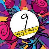 9 Happy Birthday background — Stock Vector