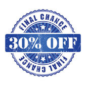 30  Percent  Chance Stamp. — Stock Vector
