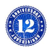 12 Years anniversary stamp. — Stok Vektör