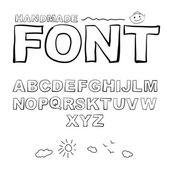 Font drawn on the tablet pen. — Vector de stock