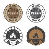 Set of vintage pizzeria labels — Stock Vector