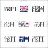 Fish and chips labels — Stock Vector