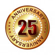25 Years anniversary golden label. — Stock Vector #66628251