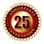 25 Years anniversary golden label. — Stock Vector