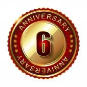 6 Years anniversary golden label. — Stock Vector