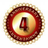 4 Years anniversary golden label. — Stock Vector