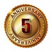 5 Years anniversary golden label. — Stock Vector