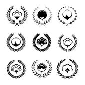 Cotton icons and logo set — Stock Vector