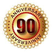 90 Years anniversary golden label. — Stock Vector