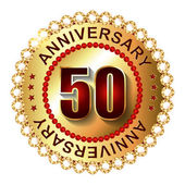 50 Years anniversary golden label. — Stock Vector