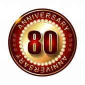 80 Years anniversary golden label. — Stock Vector