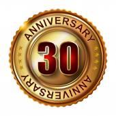 30 Years anniversary golden label. — Stock Vector
