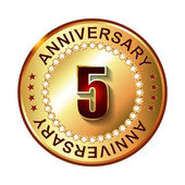 5 Years anniversary golden label. — Stock Vector